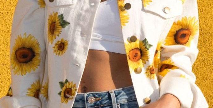 Sunflower Print Denim Jacket
