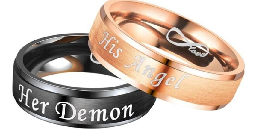 His Angel, Her Demon Couple Rings