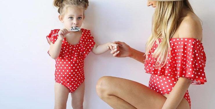 Red Polka Dot Swimsuit - Mom