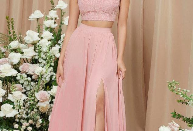 Lace Top & Split Skirt 2PC Set