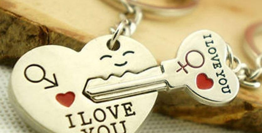 Heart & Key Couple Keychain