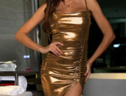 Slit Pleated Dress