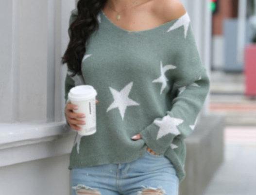 Star Print Loose Sweater