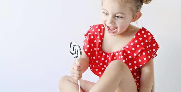 Red Polka Dot Swimsuit - Kids