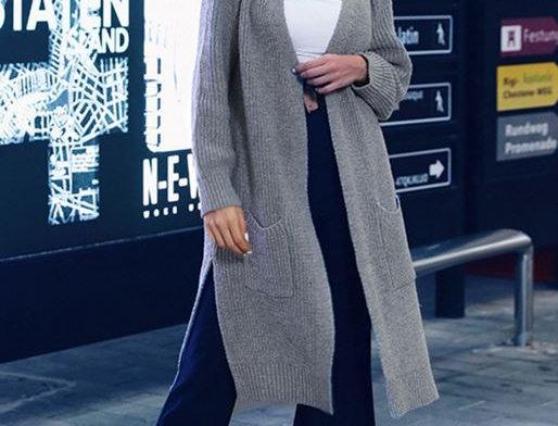 Gray Crochet Cardigan