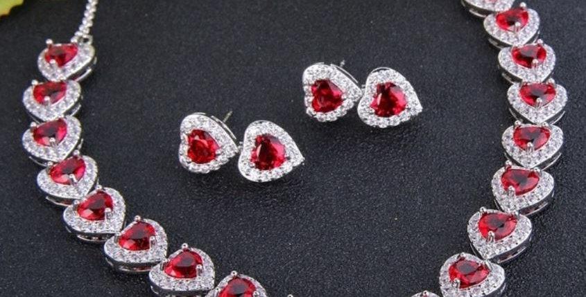 Zirconia Necklace Earrings Set