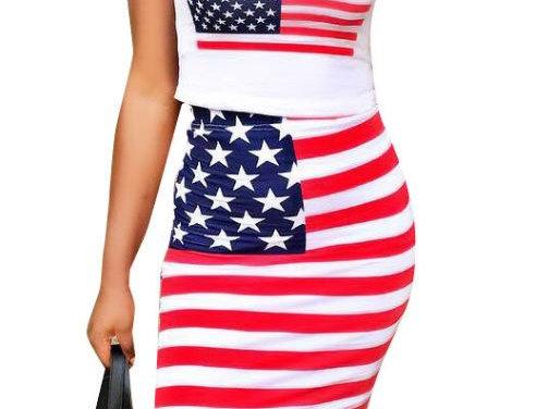 2Pcs USA Flag Suit