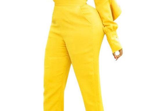 Yellow V-Neck Jumpsuit