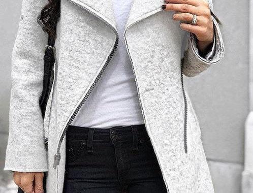Lapel Zipper Coat