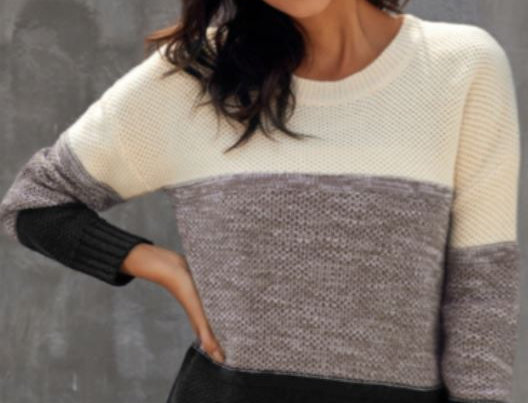 Contrast Solid Color Sweater