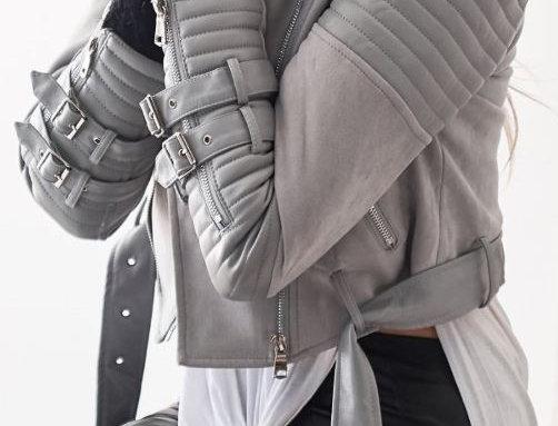 Lapel Sloping Leather Jacket