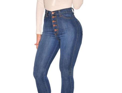 High Waist Buttoned Jeans