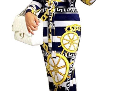 Gorgeous Sailor Print Dress
