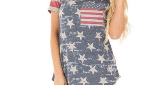USA Flag Print Top