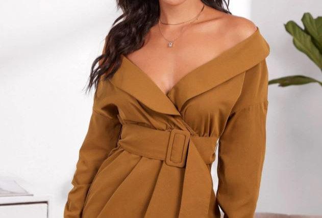Foldover Belted Dress