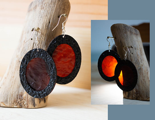 SCOBY Leather Earrings by Madison Wilds Burger