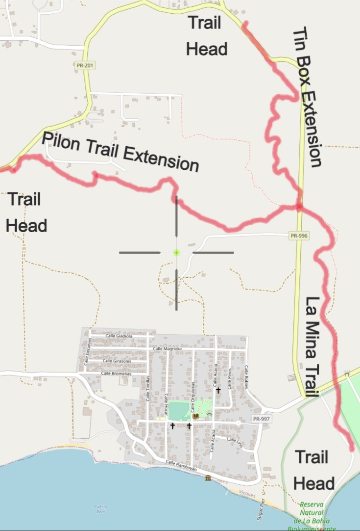 La Mina Trail Map with Trail Extensions