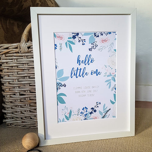 Hello little one birth print