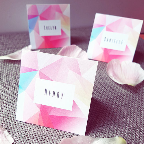 Colourful geometric name place cards