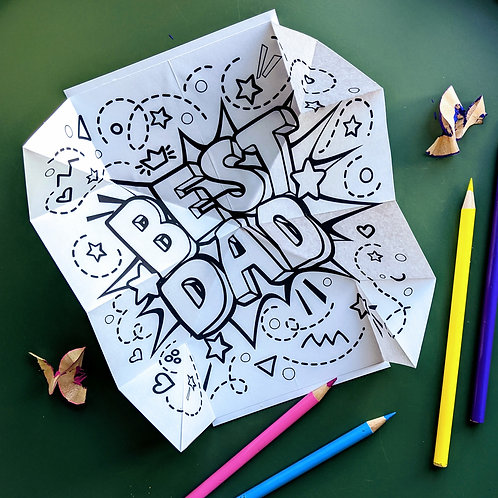 Pop up Father's Day Colouring Card