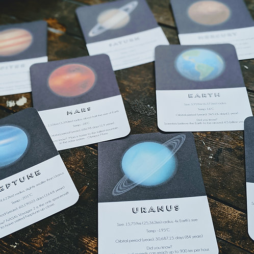 Solar System Planet Fact Cards