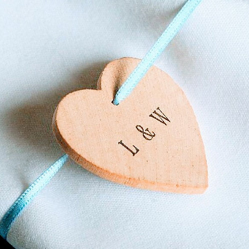 Initialed wooden hearts on ribbon - pack of ten