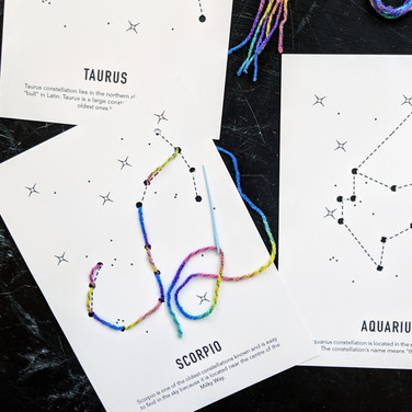 Constellation lacing cards