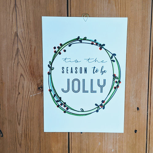 A4 Hand-finished Jolly Christmas Print
