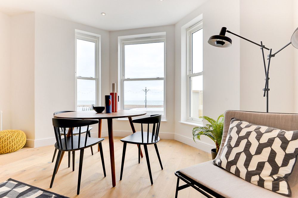 property photography, interior design, seafront apartment in Worthing, West Sussex