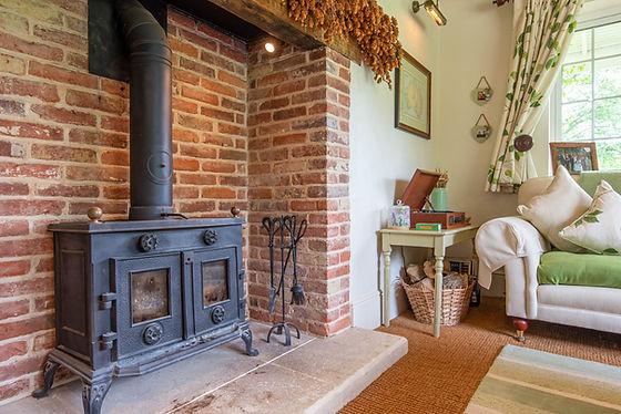 Bric built open fire, cosy cottage, Horsham, West Sussex