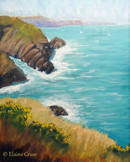 View of Ceibwr Bay - oil on canvas