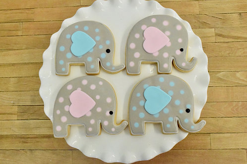 6 Elephant Polka Dot Cookies (color options)