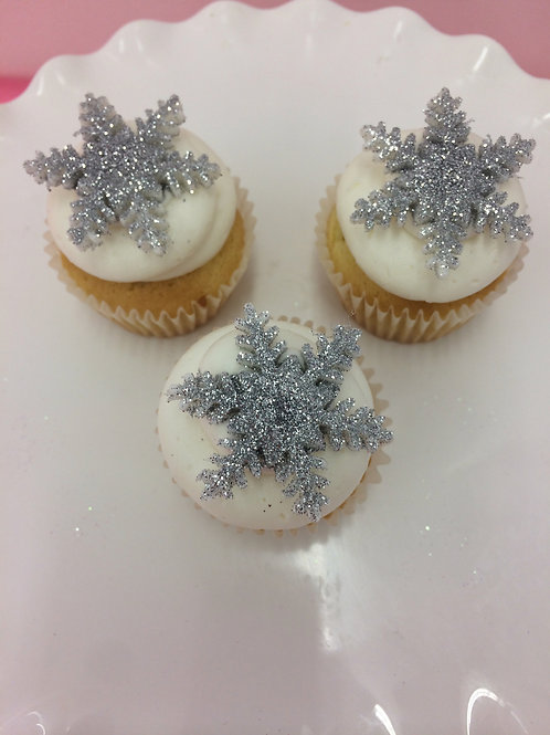 6 Glitter Snowflake Miniature Cupcakes (gold or silver)