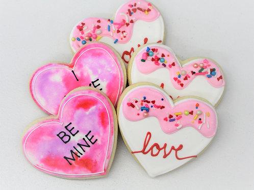 6 Watercolor Hearts