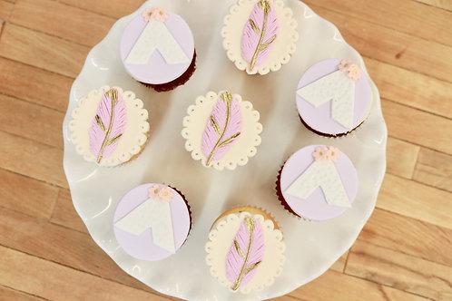 6 Bohemian mini cupcakes