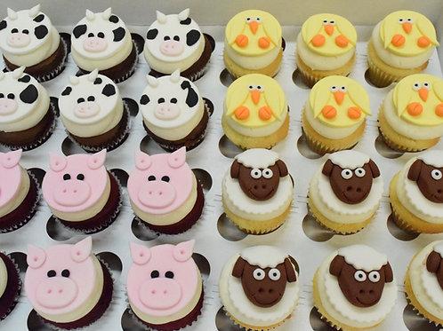 6 Farm Animal Miniature Cupcakes (6 per design)