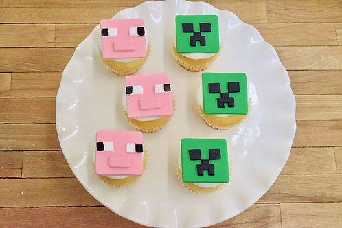 Minecraft Cupcakes, Pig Cupcakes, Creeper Cupcakes, Los Angeles Bakery, Sherman Oaks