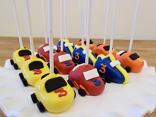 6 Race Car Cake Pops (6 per design)