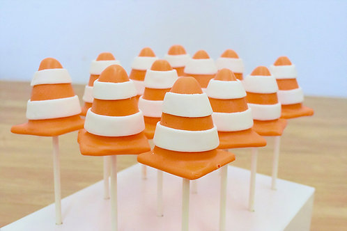 6 Construction Cone Cake Pops