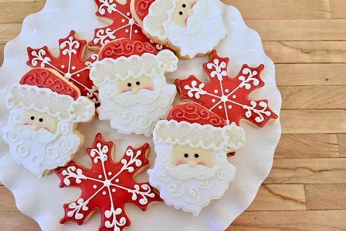 6 Santa or Snowflake Cookies (6 per design)