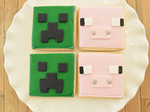 Minecraft Cookies, Creeper Cookies, Custom Cake Pops,Los Angeles Bakery, Sherman Oaks