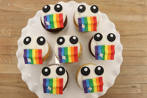 6 Snapchat Rainbow Mouth Cupcakes