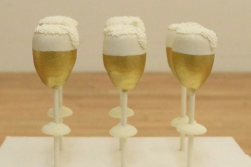 6 New Years Champagne Glass Cake Pops