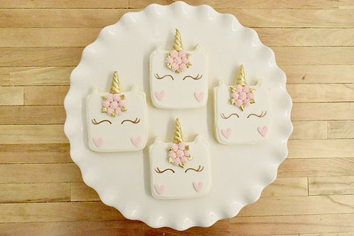 6 Square Unicorn Face Cookies (color options)
