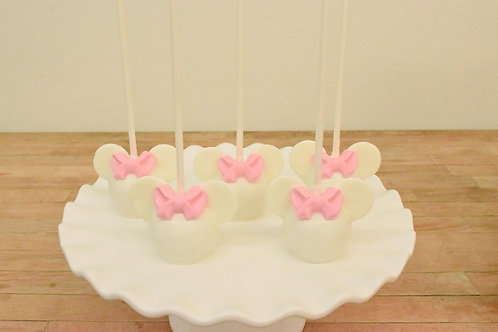 6 White Minnie Mouse Cake Pops