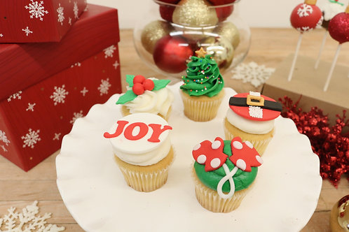 6 Christmas Miniature Cupcakes (6 per design)