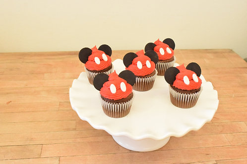 6 Mickey Mouse Miniature Cupcakes