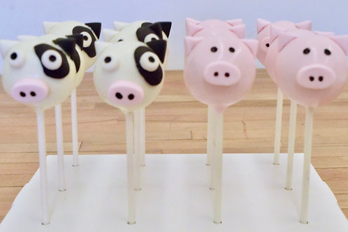 Pig or Cow Cake Pops (6)