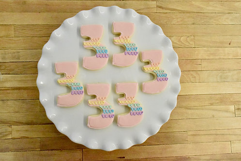 6 Rainbow Number Cookies (color options)