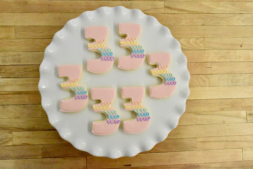 6 Rainbow Number Cookies Color Options